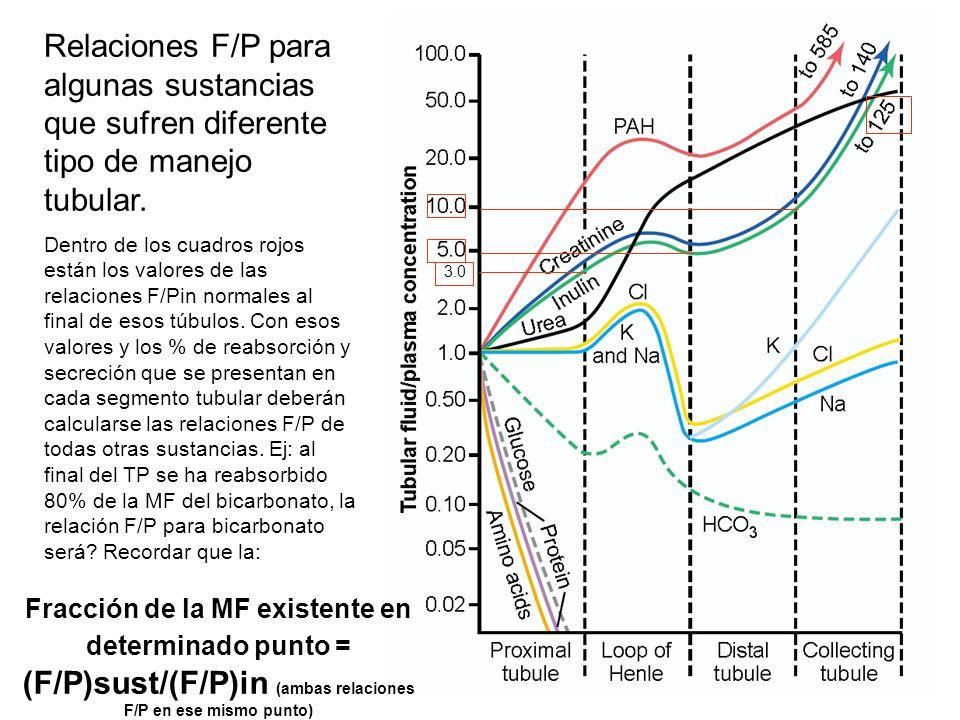 3.0 Relaciones F/P para algunas sustancias que sufren diferente tipo de manejo tubular.