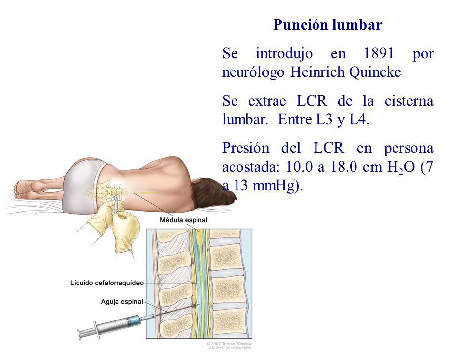 Punción lumbar Se introdujo en 1891 por neurólogo Heinrich Quincke. Se extrae LCR de la cisterna lumbar. Entre L3 y L4.