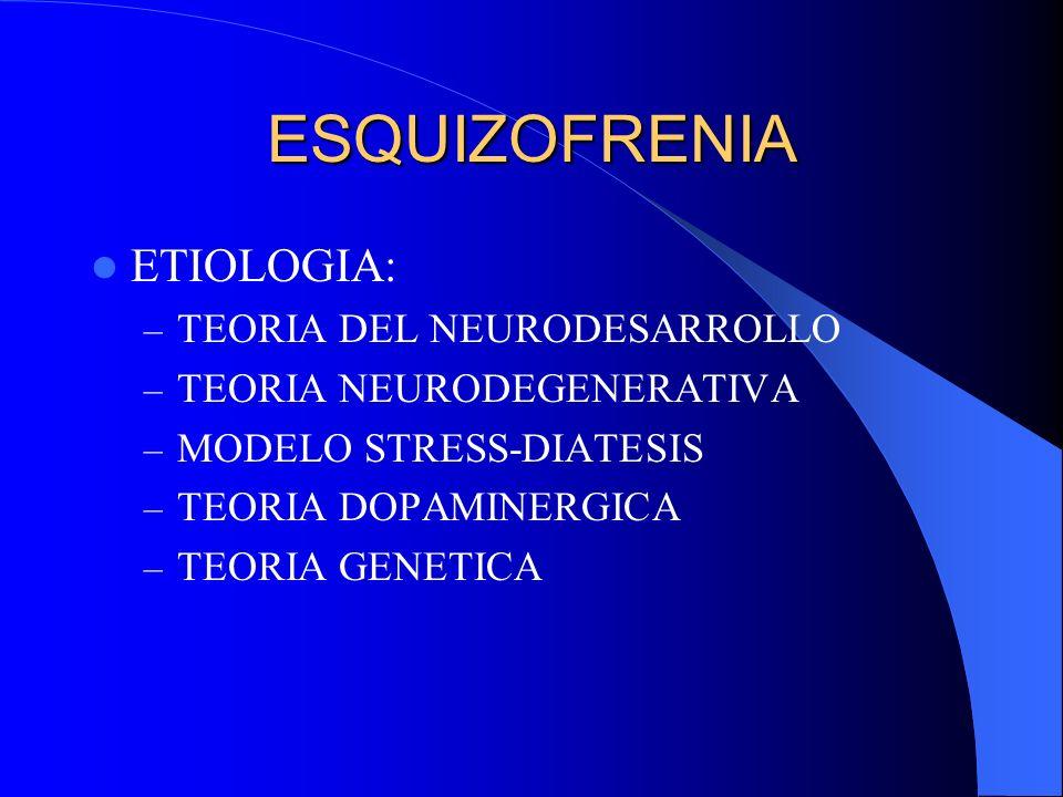 ESQUIZOFRENIA ETIOLOGIA: TEORIA DEL NEURODESARROLLO