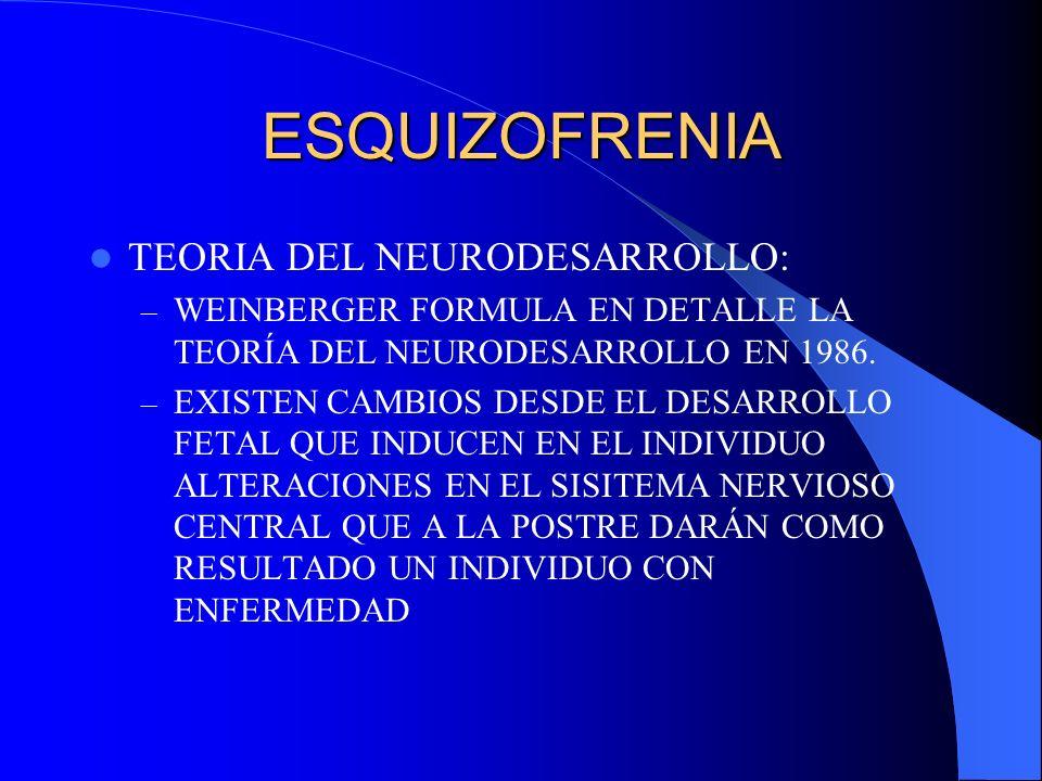 ESQUIZOFRENIA TEORIA DEL NEURODESARROLLO: