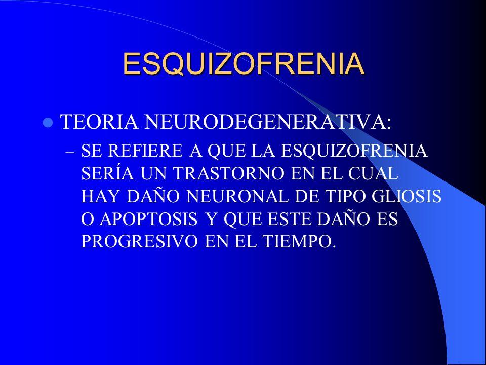 ESQUIZOFRENIA TEORIA NEURODEGENERATIVA: