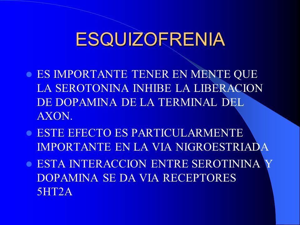 ESQUIZOFRENIA ES IMPORTANTE TENER EN MENTE QUE LA SEROTONINA INHIBE LA LIBERACION DE DOPAMINA DE LA TERMINAL DEL AXON.