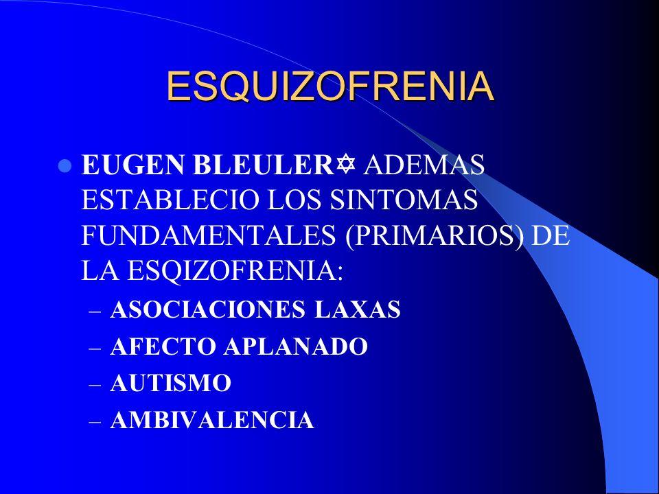 ESQUIZOFRENIA EUGEN BLEULER ADEMAS ESTABLECIO LOS SINTOMAS FUNDAMENTALES (PRIMARIOS) DE LA ESQIZOFRENIA: