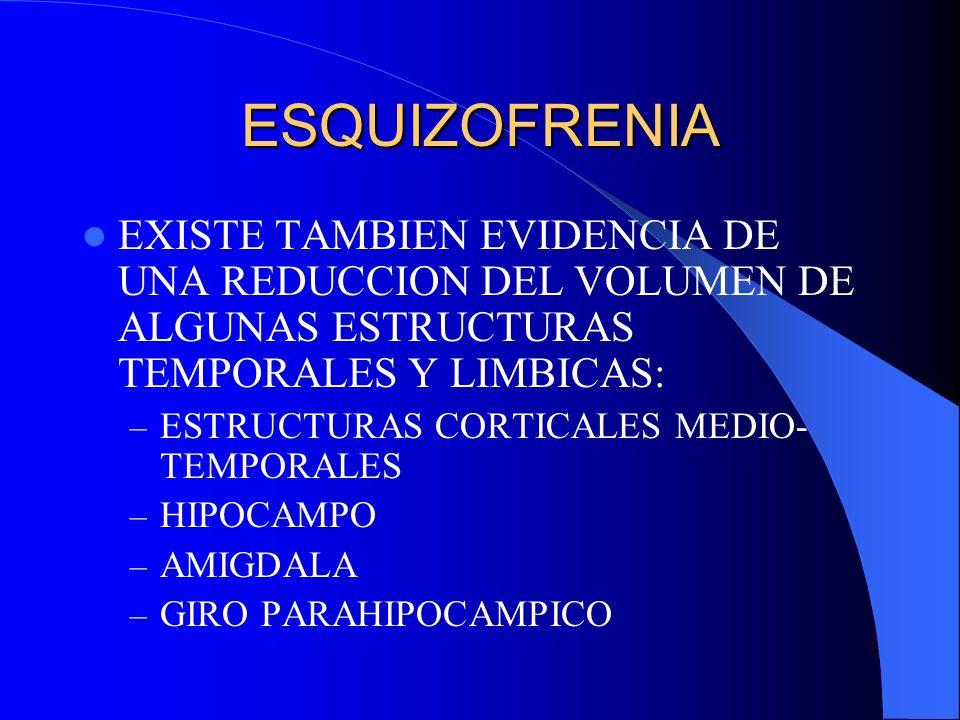 ESQUIZOFRENIA EXISTE TAMBIEN EVIDENCIA DE UNA REDUCCION DEL VOLUMEN DE ALGUNAS ESTRUCTURAS TEMPORALES Y LIMBICAS:
