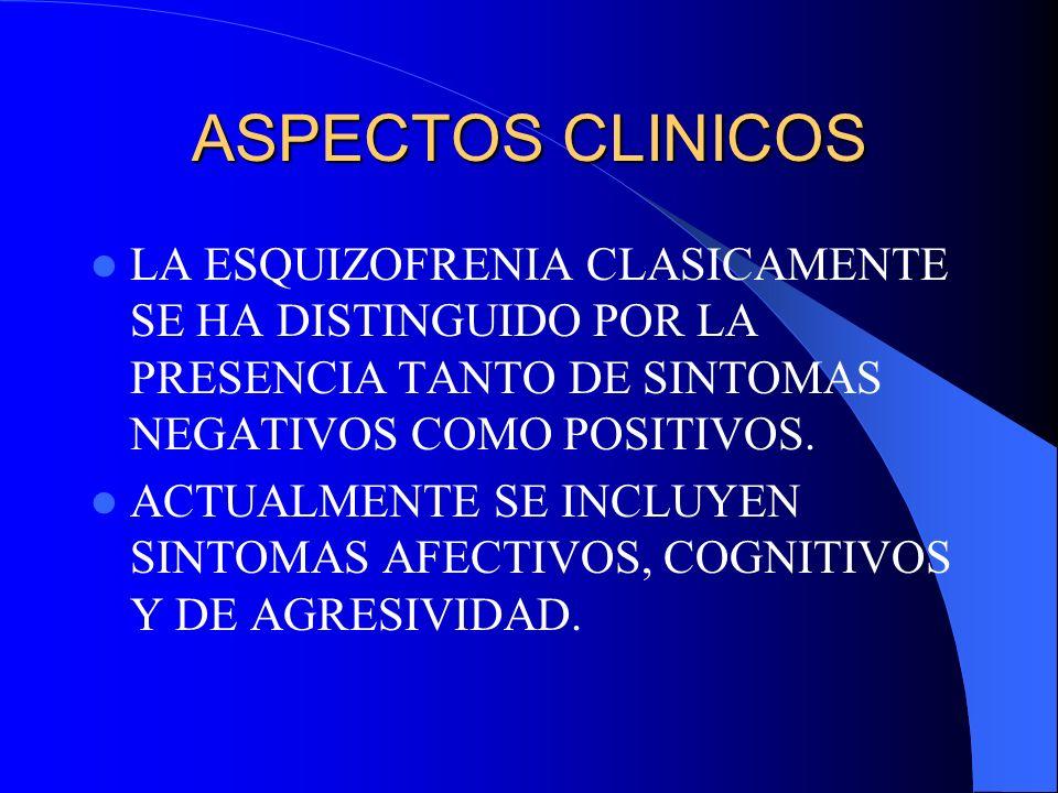 ASPECTOS CLINICOS LA ESQUIZOFRENIA CLASICAMENTE SE HA DISTINGUIDO POR LA PRESENCIA TANTO DE SINTOMAS NEGATIVOS COMO POSITIVOS.