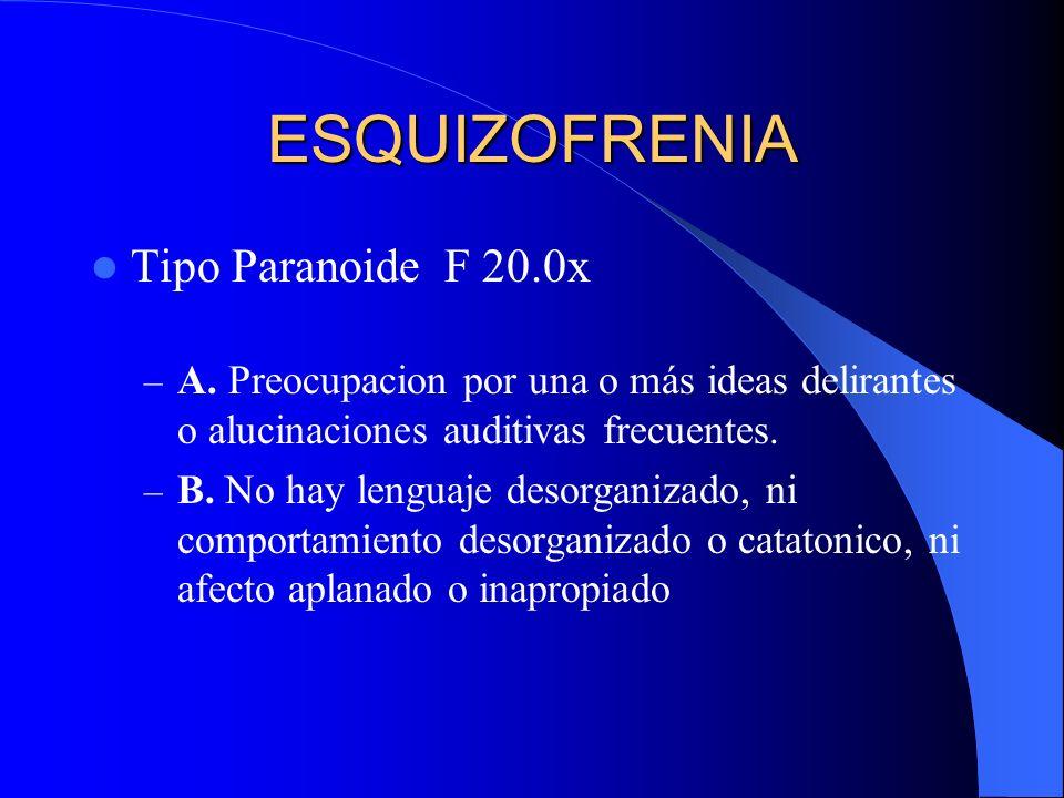 ESQUIZOFRENIA Tipo Paranoide F 20.0x