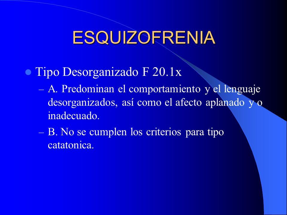 ESQUIZOFRENIA Tipo Desorganizado F 20.1x