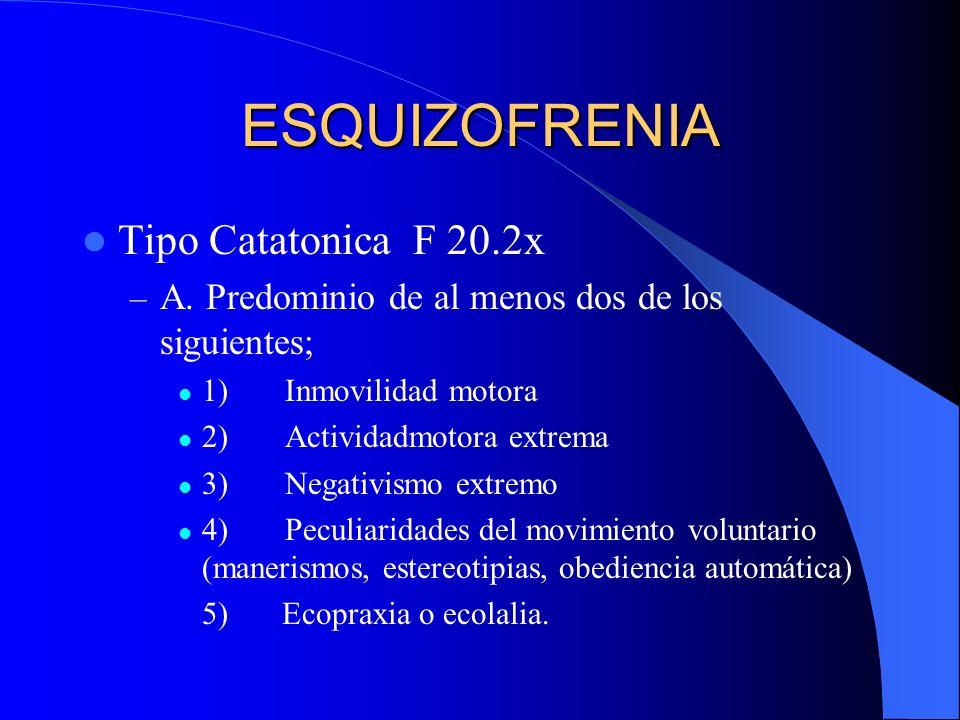 ESQUIZOFRENIA Tipo Catatonica F 20.2x