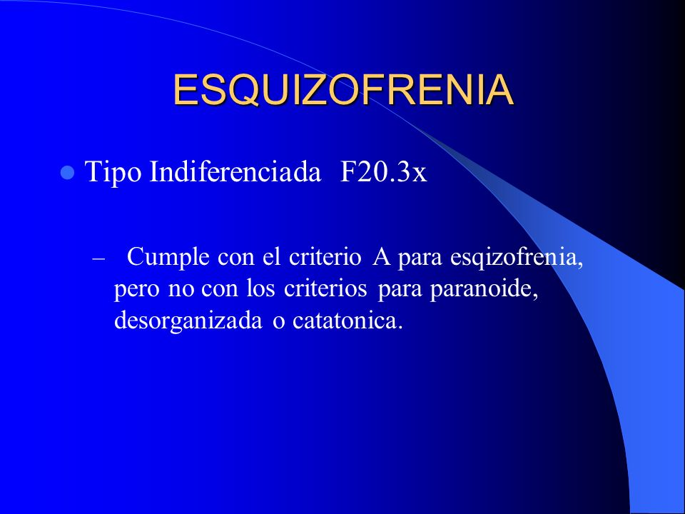 ESQUIZOFRENIA Tipo Indiferenciada F20.3x