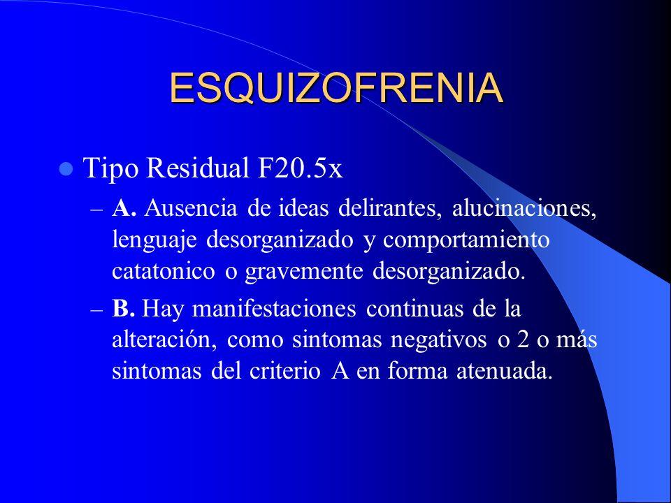ESQUIZOFRENIA Tipo Residual F20.5x