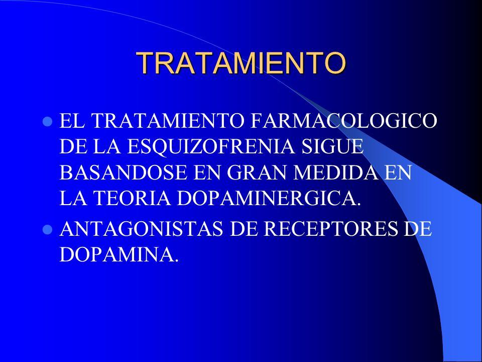 TRATAMIENTOEL TRATAMIENTO FARMACOLOGICO DE LA ESQUIZOFRENIA SIGUE BASANDOSE EN GRAN MEDIDA EN LA TEORIA DOPAMINERGICA.