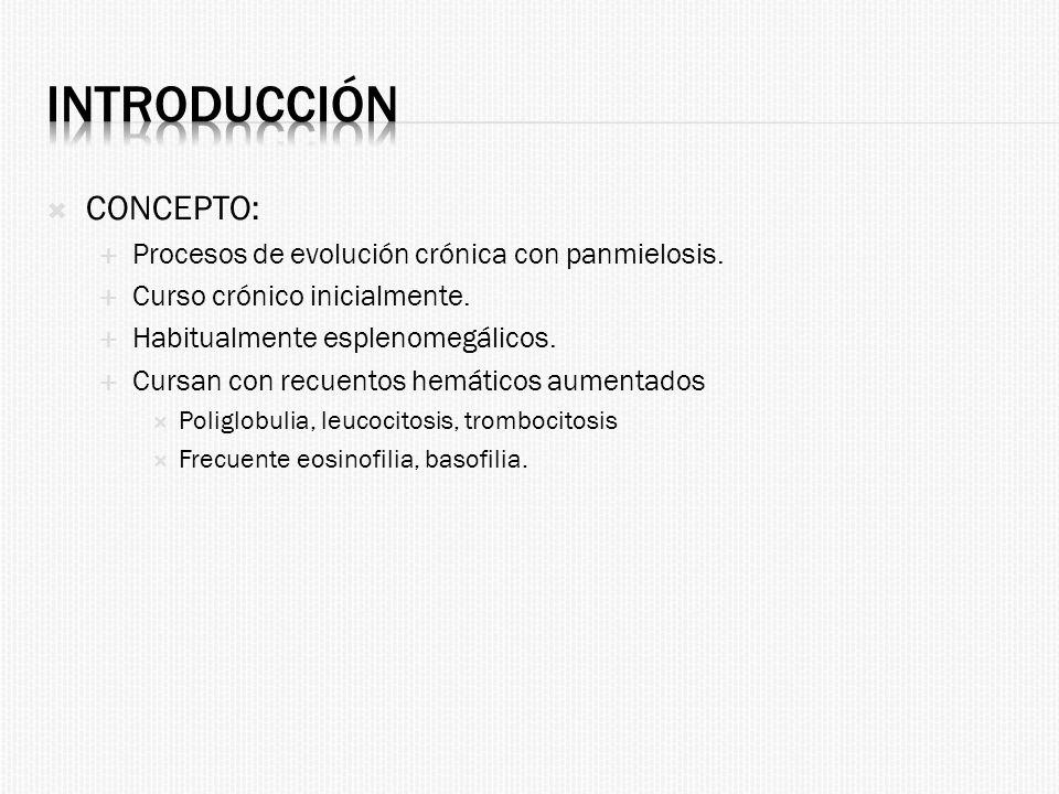 Introducción CONCEPTO: Procesos de evolución crónica con panmielosis.