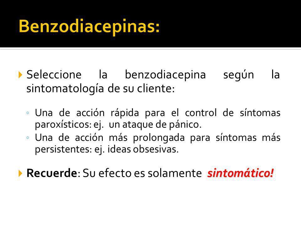 Benzodiacepinas: Seleccione la benzodiacepina según la sintomatología de su cliente: