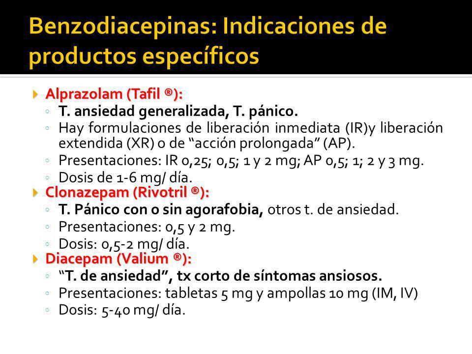 Benzodiacepinas: Indicaciones de productos específicos