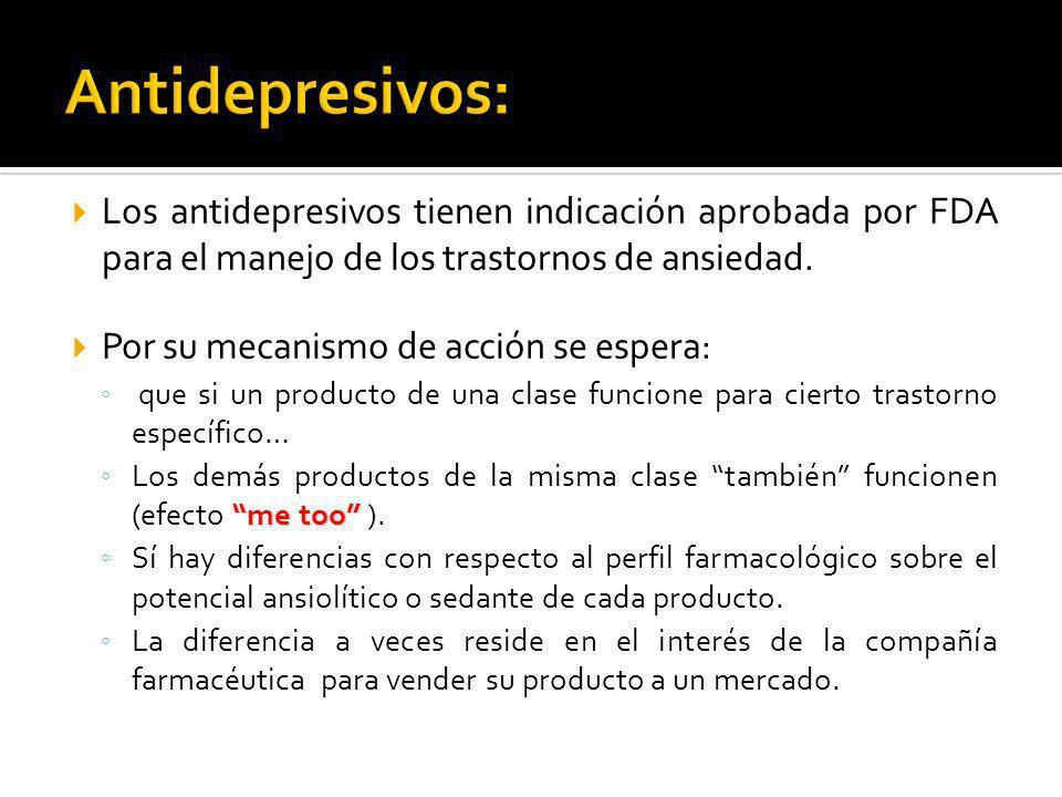 Antidepresivos: Los antidepresivos tienen indicación aprobada por FDA para el manejo de los trastornos de ansiedad.