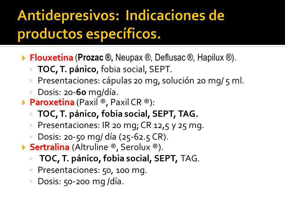 Antidepresivos: Indicaciones de productos específicos.
