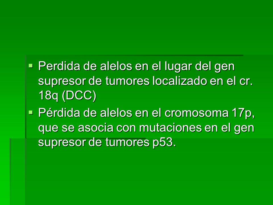 Perdida de alelos en el lugar del gen supresor de tumores localizado en el cr. 18q (DCC)