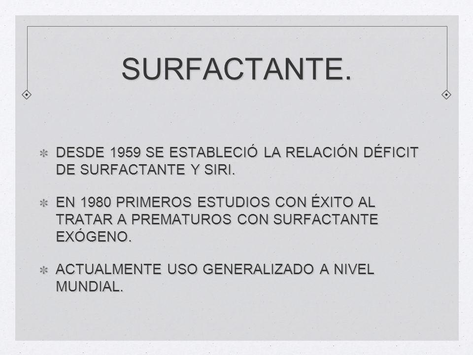 SURFACTANTE. DESDE 1959 SE ESTABLECIÓ LA RELACIÓN DÉFICIT DE SURFACTANTE Y SIRI.