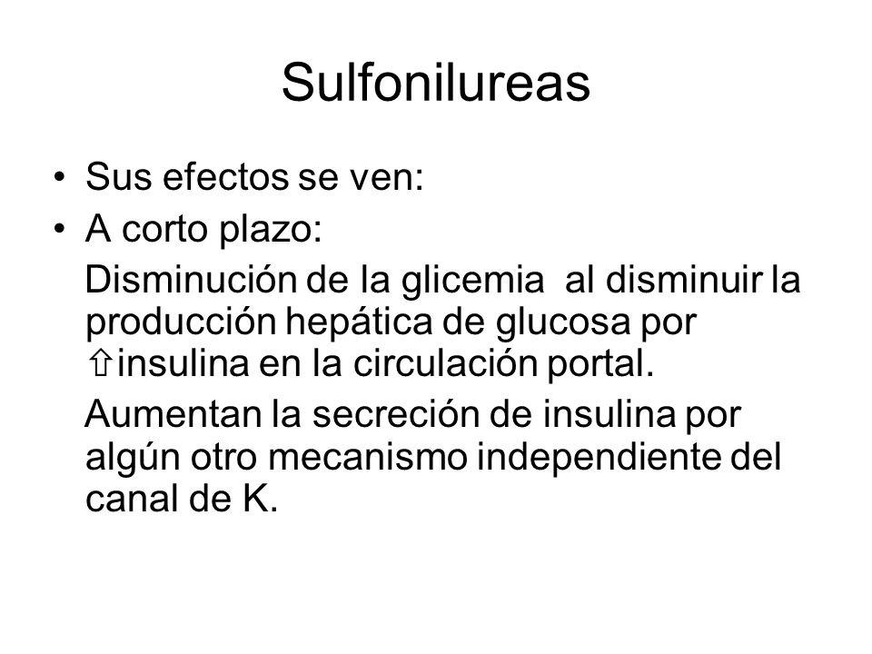 Sulfonilureas Sus efectos se ven: A corto plazo: