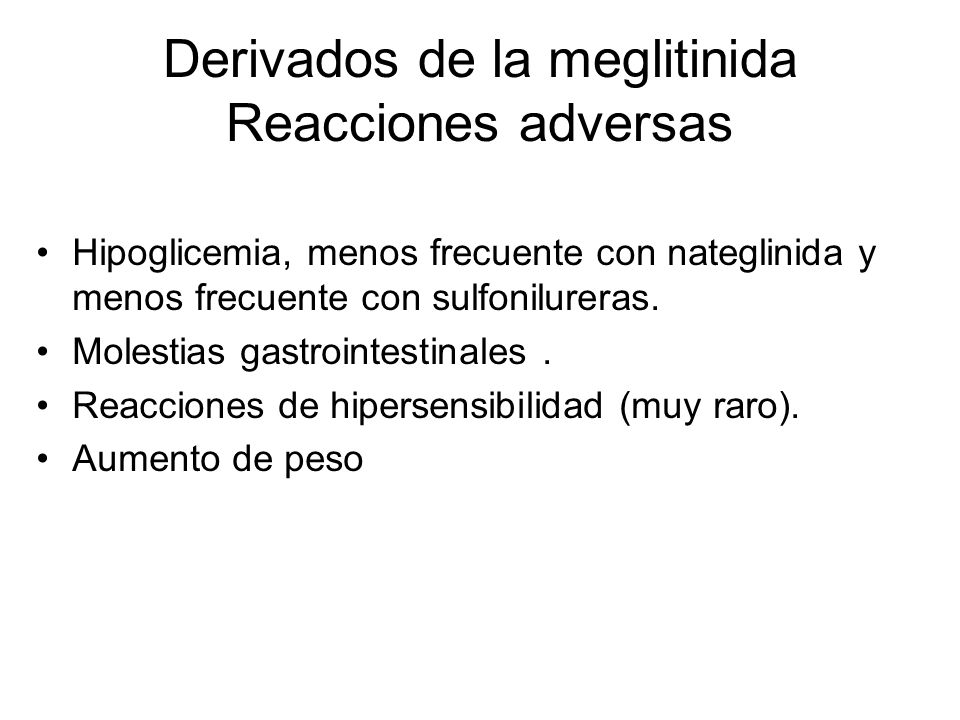 Derivados de la meglitinida Reacciones adversas