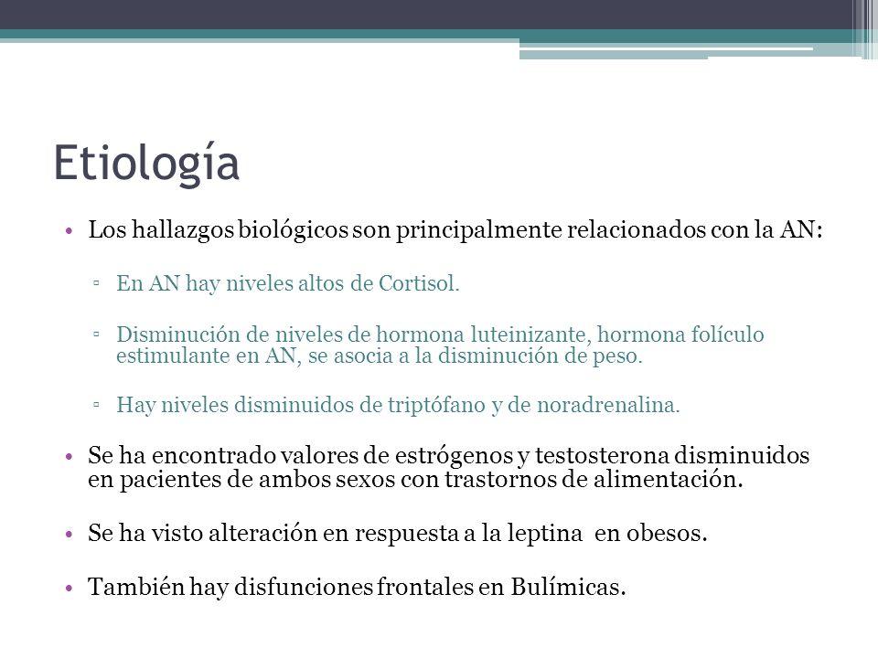 Etiología Los hallazgos biológicos son principalmente relacionados con la AN: En AN hay niveles altos de Cortisol.