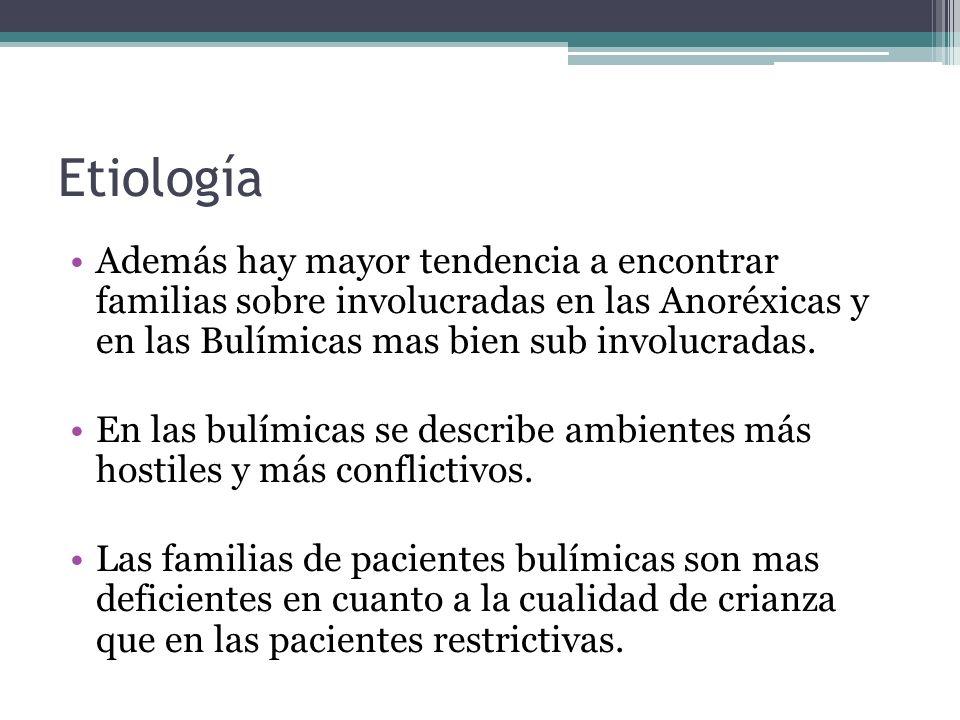 Etiología Además hay mayor tendencia a encontrar familias sobre involucradas en las Anoréxicas y en las Bulímicas mas bien sub involucradas.