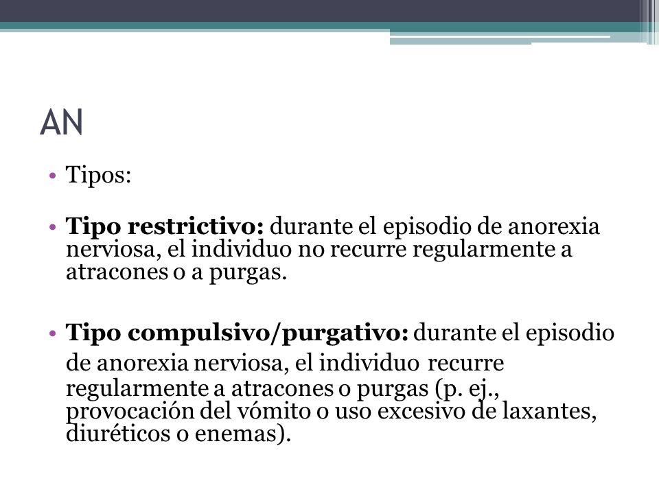 AN Tipos: Tipo restrictivo: durante el episodio de anorexia nerviosa, el individuo no recurre regularmente a atracones o a purgas.