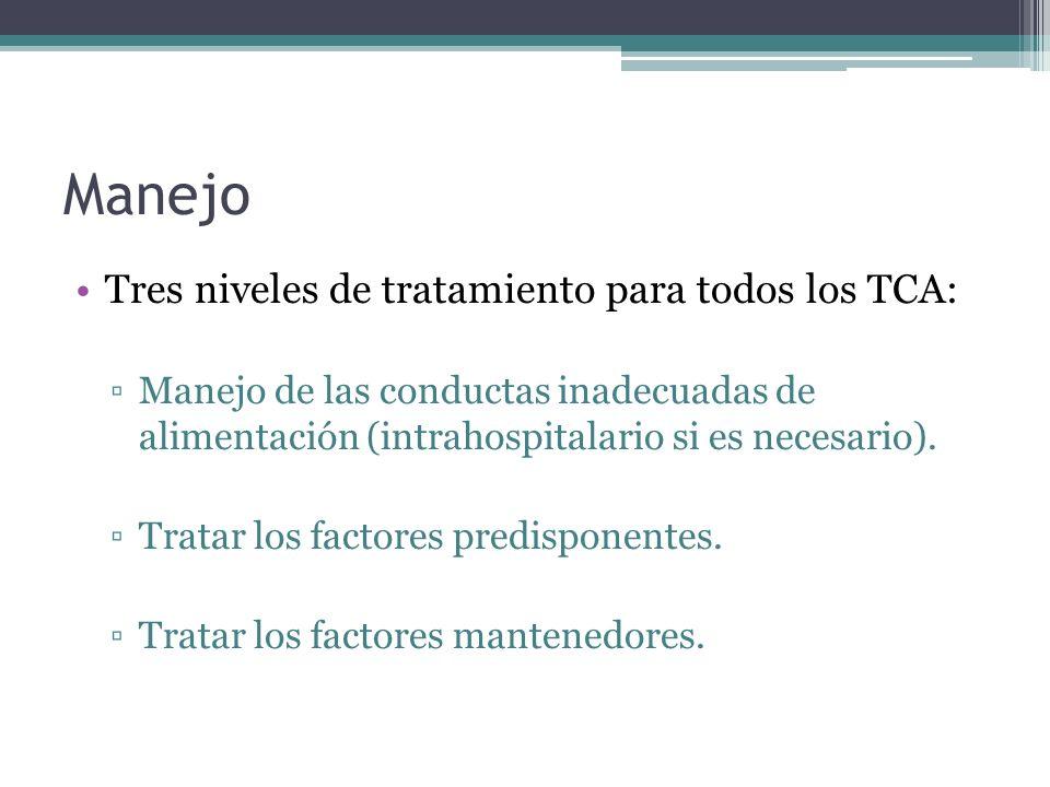 Manejo Tres niveles de tratamiento para todos los TCA: