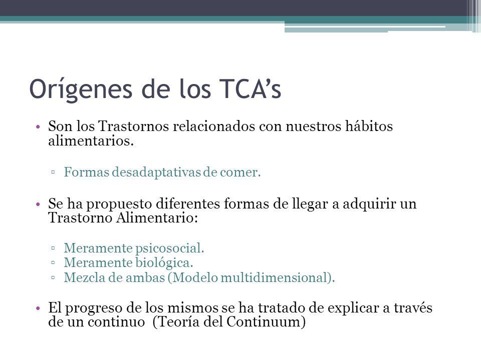 Orígenes de los TCA's Son los Trastornos relacionados con nuestros hábitos alimentarios. Formas desadaptativas de comer.