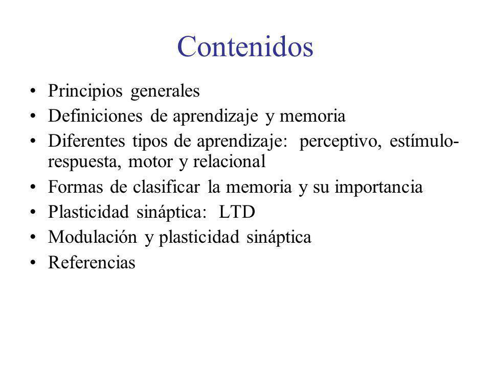 Contenidos Principios generales Definiciones de aprendizaje y memoria