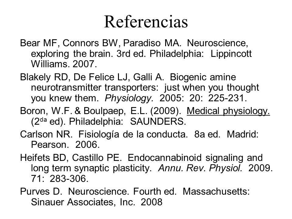 Referencias Bear MF, Connors BW, Paradiso MA. Neuroscience, exploring the brain. 3rd ed. Philadelphia: Lippincott Williams. 2007.