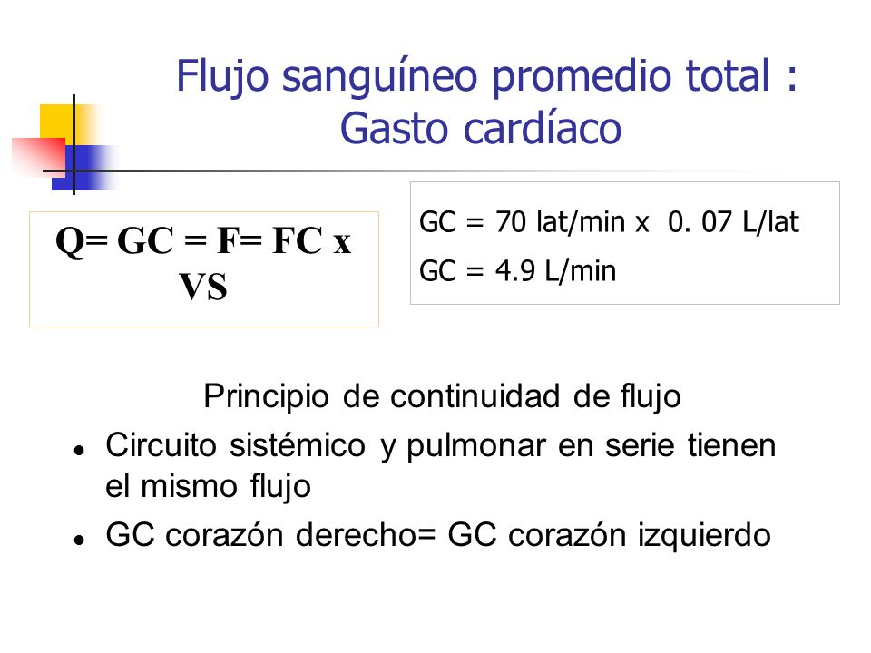 Flujo sanguíneo promedio total : Gasto cardíaco