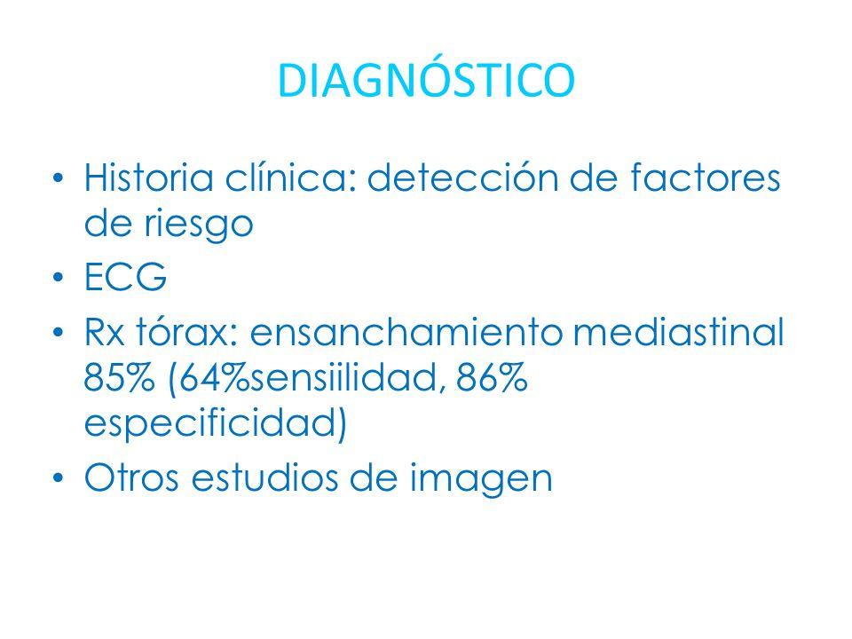 DIAGNÓSTICO Historia clínica: detección de factores de riesgo ECG