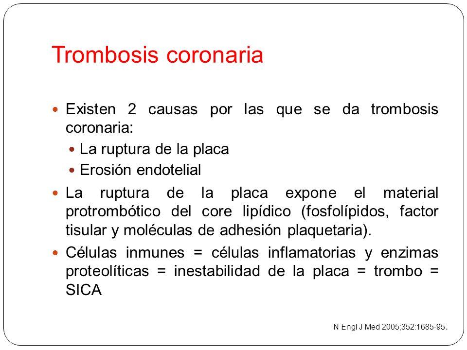 Trombosis coronaria Existen 2 causas por las que se da trombosis coronaria: La ruptura de la placa.