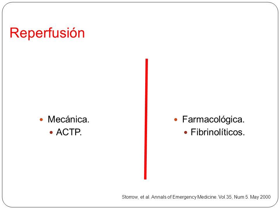 Reperfusión Mecánica. ACTP. Farmacológica. Fibrinolíticos.
