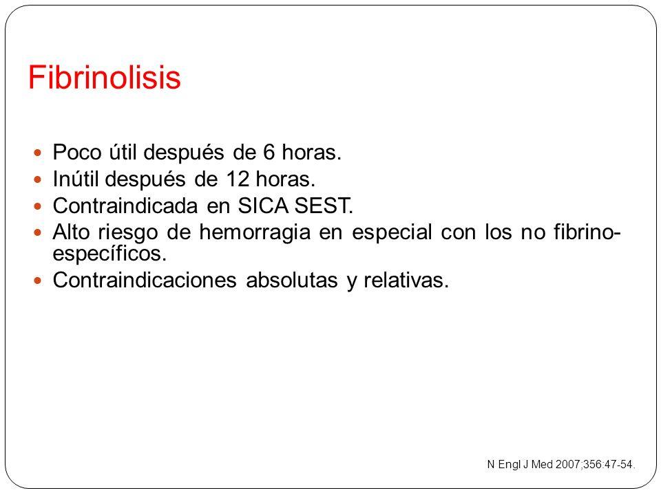 Fibrinolisis Poco útil después de 6 horas. Inútil después de 12 horas.