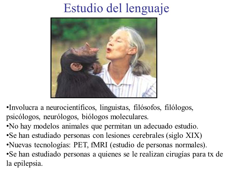Estudio del lenguajeInvolucra a neurocientíficos, linguistas, filósofos, filólogos, psicólogos, neurólogos, biólogos moleculares.