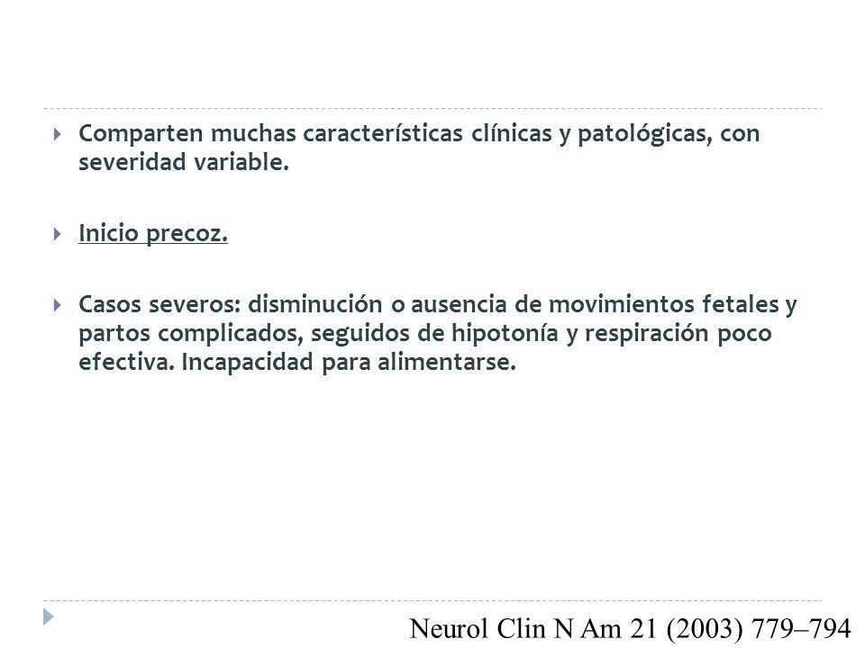 Comparten muchas características clínicas y patológicas, con severidad variable.