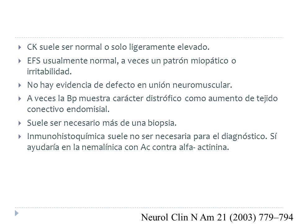 CK suele ser normal o solo ligeramente elevado.