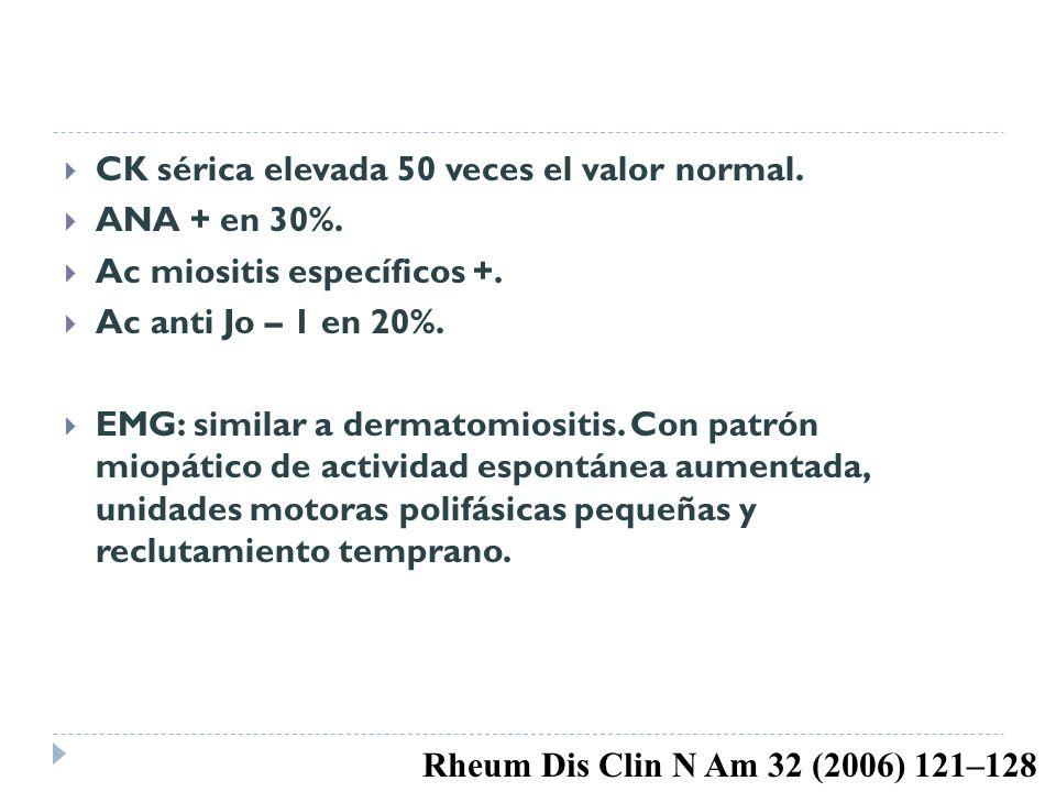 CK sérica elevada 50 veces el valor normal.