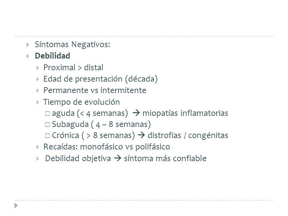 Síntomas Negativos: Debilidad. Proximal > distal. Edad de presentación (década) Permanente vs intermitente.