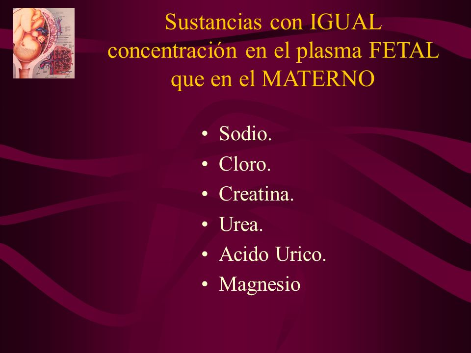 Sustancias con IGUAL concentración en el plasma FETAL que en el MATERNO