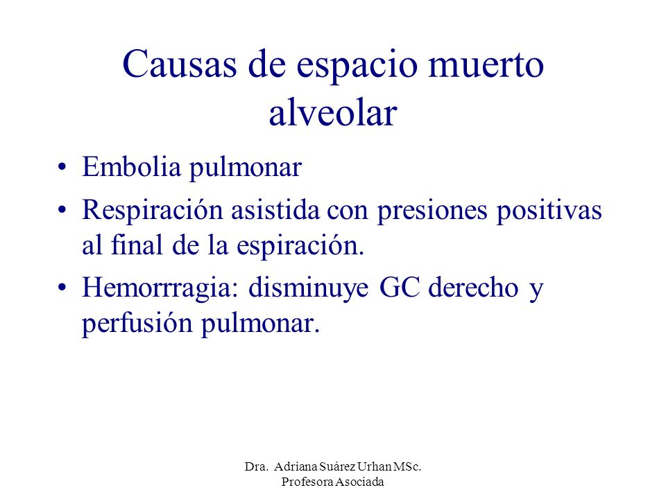 Causas de espacio muerto alveolar