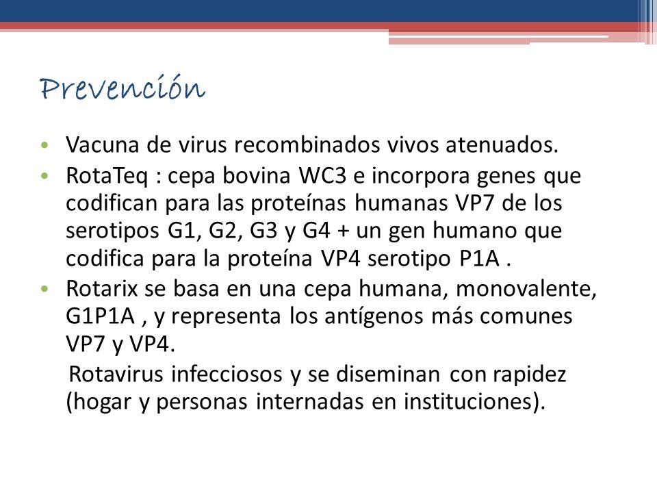 Prevención Vacuna de virus recombinados vivos atenuados.