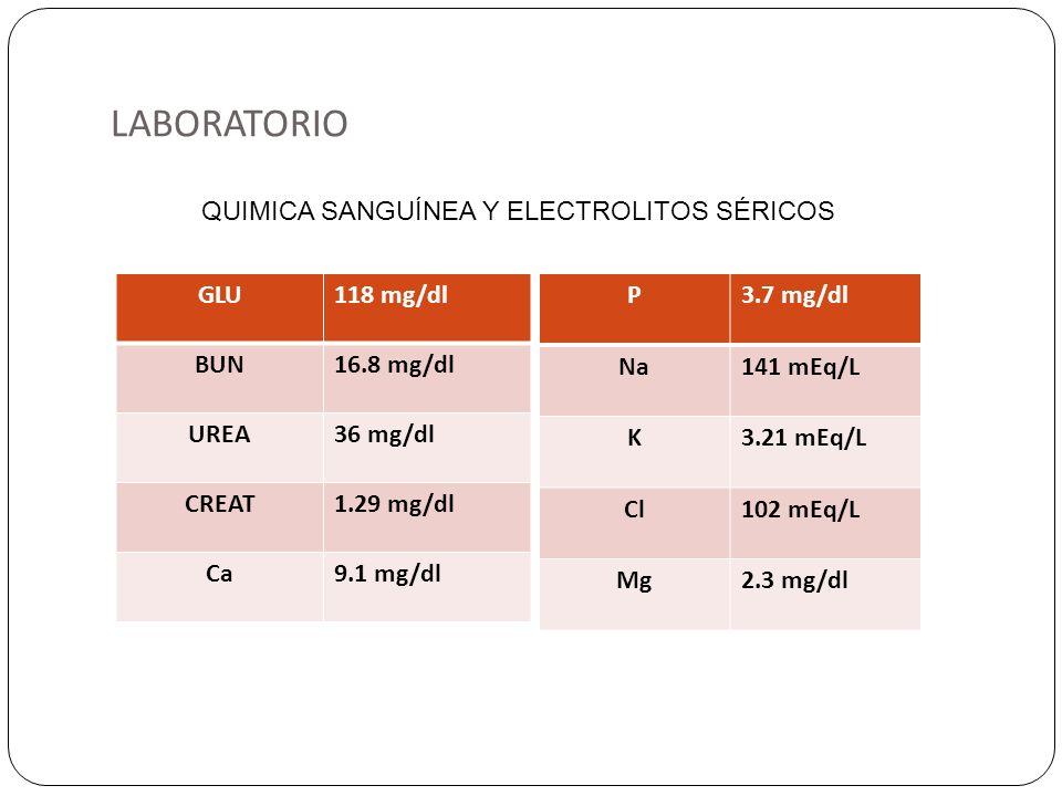 LABORATORIO QUIMICA SANGUÍNEA Y ELECTROLITOS SÉRICOS GLU 118 mg/dl BUN