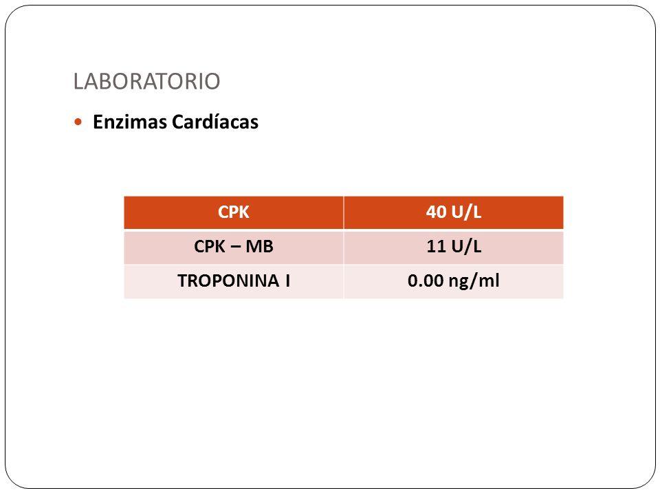 LABORATORIO Enzimas Cardíacas CPK 40 U/L CPK – MB 11 U/L TROPONINA I