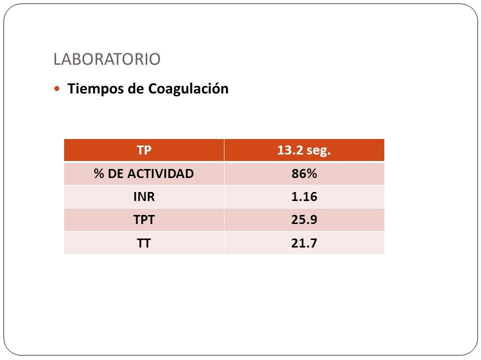 LABORATORIO Tiempos de Coagulación TP 13.2 seg. % DE ACTIVIDAD 86% INR