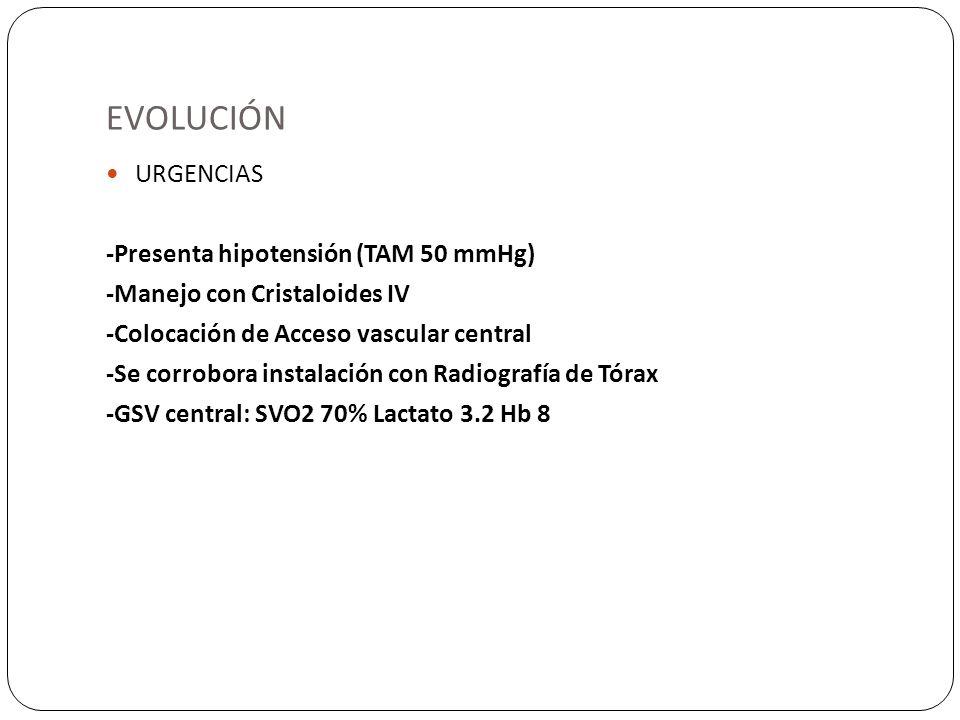 EVOLUCIÓN URGENCIAS -Presenta hipotensión (TAM 50 mmHg)