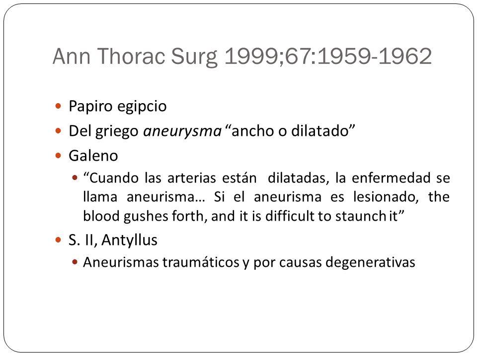 Ann Thorac Surg 1999;67:1959-1962 Papiro egipcio