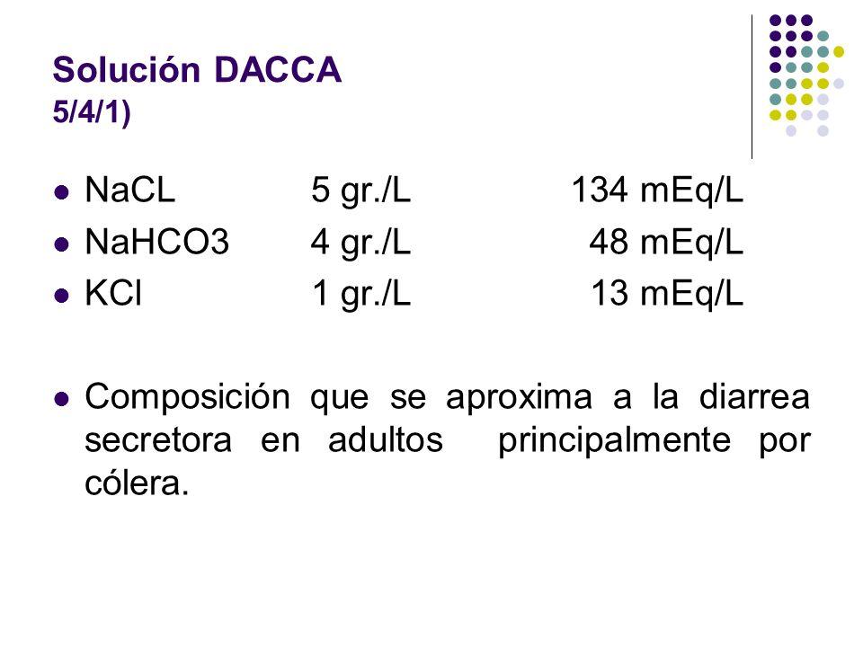 Solución DACCA 5/4/1) NaCL 5 gr./L 134 mEq/L. NaHCO3 4 gr./L 48 mEq/L. KCl 1 gr./L 13 mEq/L.